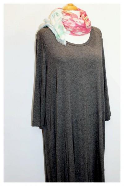 Grau-schwarz meliertes Jerseykleid